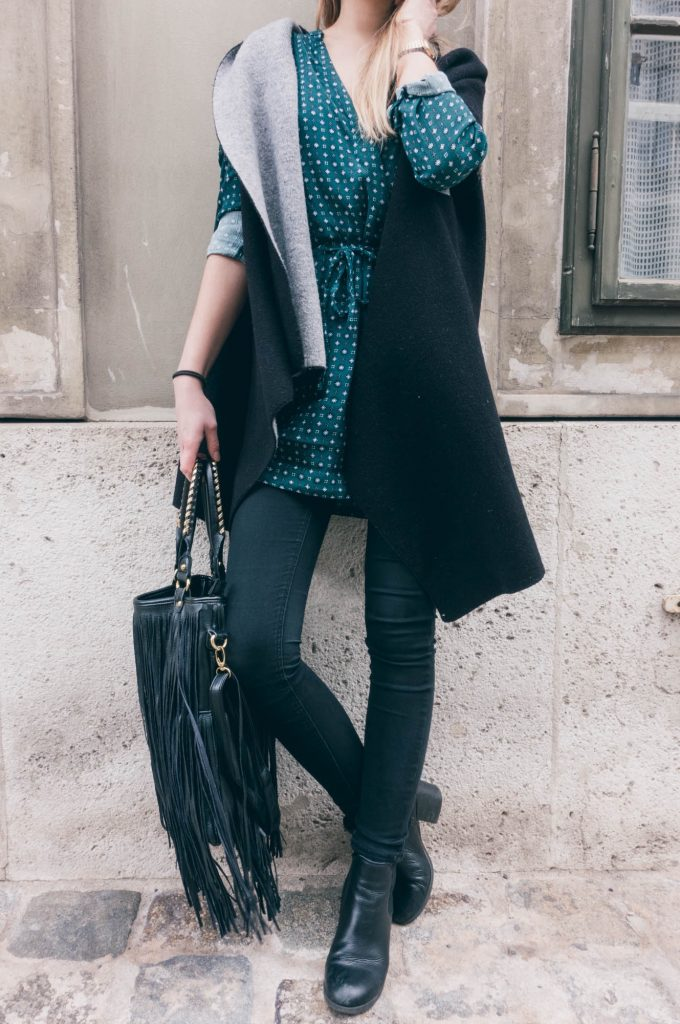 DSC00180ankleboots, green dress, how to wear, poncho-look, sumerdress, summerdress in winter, winterdress